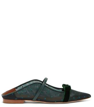Malone Souliers Marguerite Luwolt Backless Mesh Flats - Womens - Dark Green