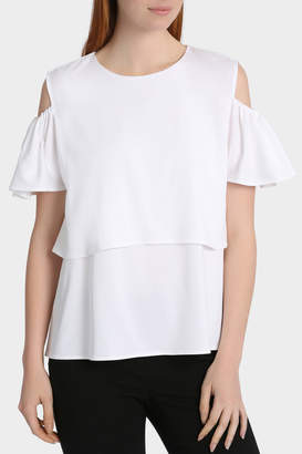 2 Layer White Cold Shoulder Top