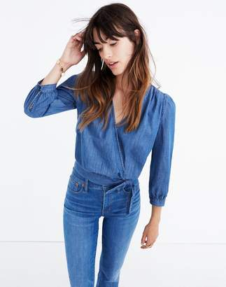 Madewell Denim Wrap Top