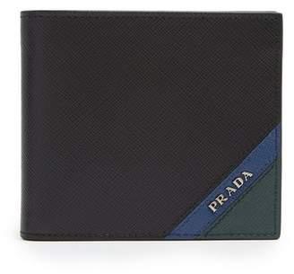 Prada Bi Fold Saffiano Leather Wallet - Mens - Black Multi