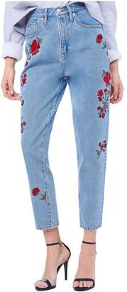 Juicy Couture Floral Embroidered Denim Girlfriend Jean