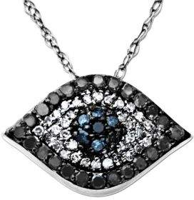 Lord & Taylor Diamond Evil Eye Pendant in 14 Kt. White Gold 0.33 ct. t.w. $1,020 thestylecure.com