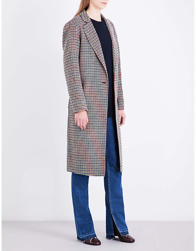 Ladies Brown Classic Check Single-Breasted Wool Coat