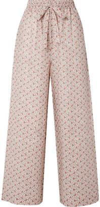 Zimmermann Heathers Floral-print Linen High-rise Wide-leg Pants - Cream