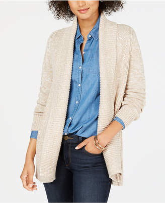 Charter Club Petite Mixed-Knit Cardigan