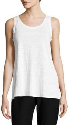 Eileen Fisher System Scoop Neck Linen Burnout Tank Top