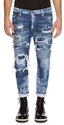 Dsquared2 Glam Head Super Ripped Wash Jeans, Blue $775 thestylecure.com