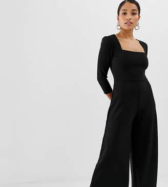 Fashion Union Petite square neck cropped jumpsuit