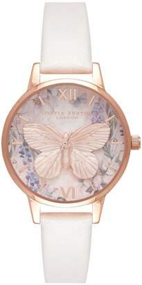 Olivia Burton Glasshouse Faux Leather Strap Watch, 30mm