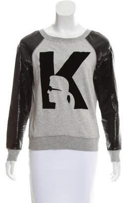 Karl Lagerfeld by Long Sleeve Scoop Neck Sweatshirt
