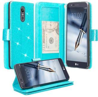 LG Electronics Coverlab For Stylo 4, Stylo 4 Plus Q710, Q Stylus Case, Glitter Bling Leather Flip Wrist Strap Wallet Cover Wristlet Clutch - Teal