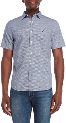 Nautica White & Navy Slim Fit Short Sleeve Shirt
