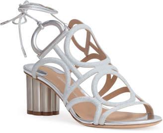 Salvatore Ferragamo Vinci 55 silver glitter sandals