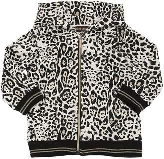 Roberto Cavalli Leopard Printed Cotton Sweatshirt