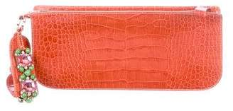 Valentino Embossed Leather Clutch