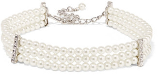 Silver-plated, Faux Pearl And Crystal Choker - White