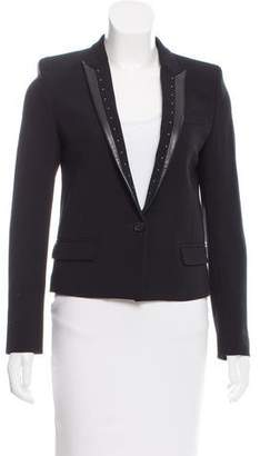 The Kooples Leather-Trimmed Structured Blazer