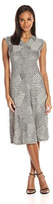 Chaus Women's Cap SLV V-Neck Irregular Stripe Dress