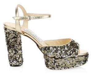 Jimmy Choo Peachy Sequin Peep Toe Platform Heels