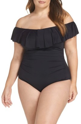 Plus Size Women's La Blanca Off The Shoulder One-Piece Swimsuit $133 thestylecure.com