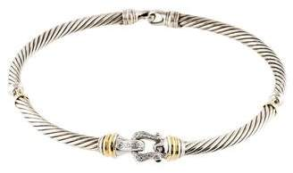David Yurman Diamond & Sapphire Cable Buckle Choker Necklace