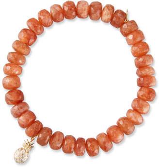 Sydney Evan 14k Sunstone Rondelle Bracelet w/ Pineapple