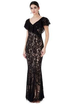 Goddiva Black Lace Frilled V-Neck Maxi Dress c477758a9fc36