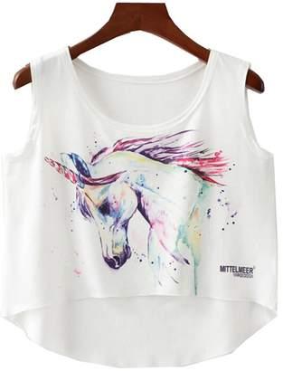 E-TDPAC Big Girls/Teen Girls Cute Unicorn Crop Top Midriff Tee Casual Pink T Shirt