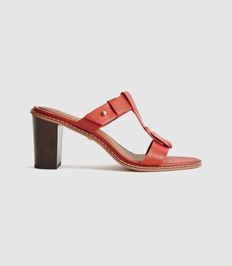 Reiss Alessa - Leather Mules in Red Stone