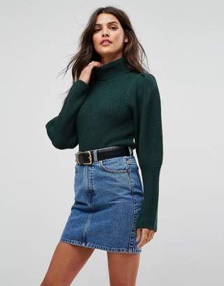 Asos Jumper With Roll Neck And Puff Shoulders