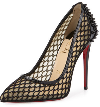 Christian Louboutin  Christian Louboutin Guni Fishnet Red Sole 100mm Pump, Black