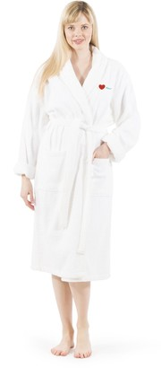 "Linum Home Textiles Home ""I Love You"" Embroidered Terry Bathrobe"