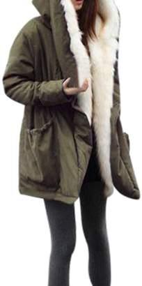 Kikoy womens jackets Hot Sale!, KIKOY Women Winter Warm Thick Fleece Faux Fur Coat Jacket Hooded Trench Outwear