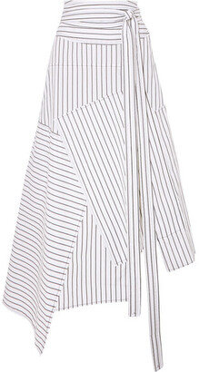 J.W.Anderson Asymmetric Striped Cotton Midi Skirt - Off-white
