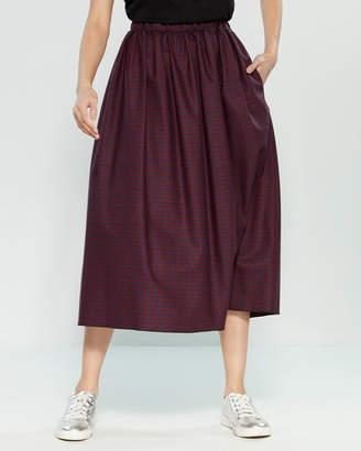 Avn Plaid Midi Skirt