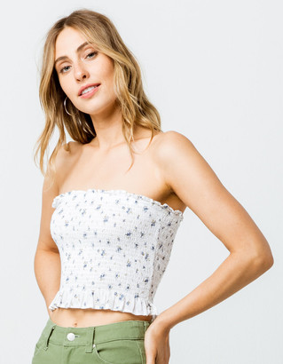 Ivy & Main Ditsy Floral Smocked Womens Crop Tube Top