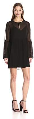 BCBGeneration Women's Long Sleeve Pleated Dress