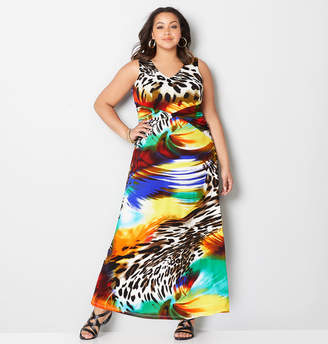 Avenue Animal Swirl Ruched Maxi Dress