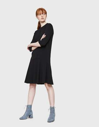 Ganni Clark Ruffle Hem Dress in Black