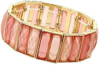 1928 Jewelry Gold-Tone Orange Faceted Stretch Bracelet of 17cm