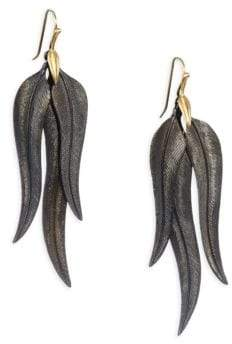 Annette Ferdinandsen Oxidized Sterling Silver and 14k Gold Feather Drop Earrings