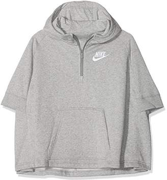 Nike 890250-063, Half Zip Girls Hoodie, Grey (Dark Grey Heather/White), L