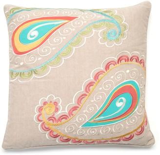 Ashbury Spring Embroidered Paisley Throw Pillow