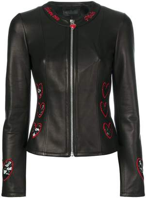 Philipp Plein heart embroidered biker jacket