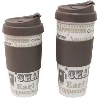 Design for Living 16 oz Mug, Brown and Coffee Talk Pattern, Set of 2
