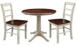 """INC International Concepts 36"""" Round Extension Dining table with 2 Madrid Chairs - Set of 3 Pieces"""