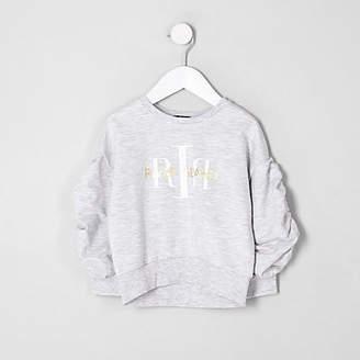 River Island Mini girls RI ruched sleeve sweatshirt