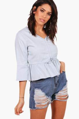 boohoo Lillie Tie Front Ruffle Hem Cropped Chambray Top