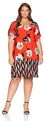 Calvin Klein Women's Plus Size Short Sleeve Dress with D Ring Hardware