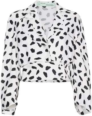 Off-White V-neck pois print long sleeve blouse